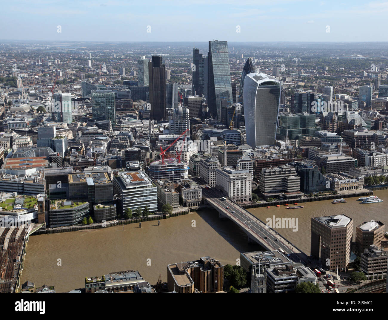aerial view of the City of London skyline with Gherkin, Walkie Talkie and Cheese Grater buildings, UK - Stock Image