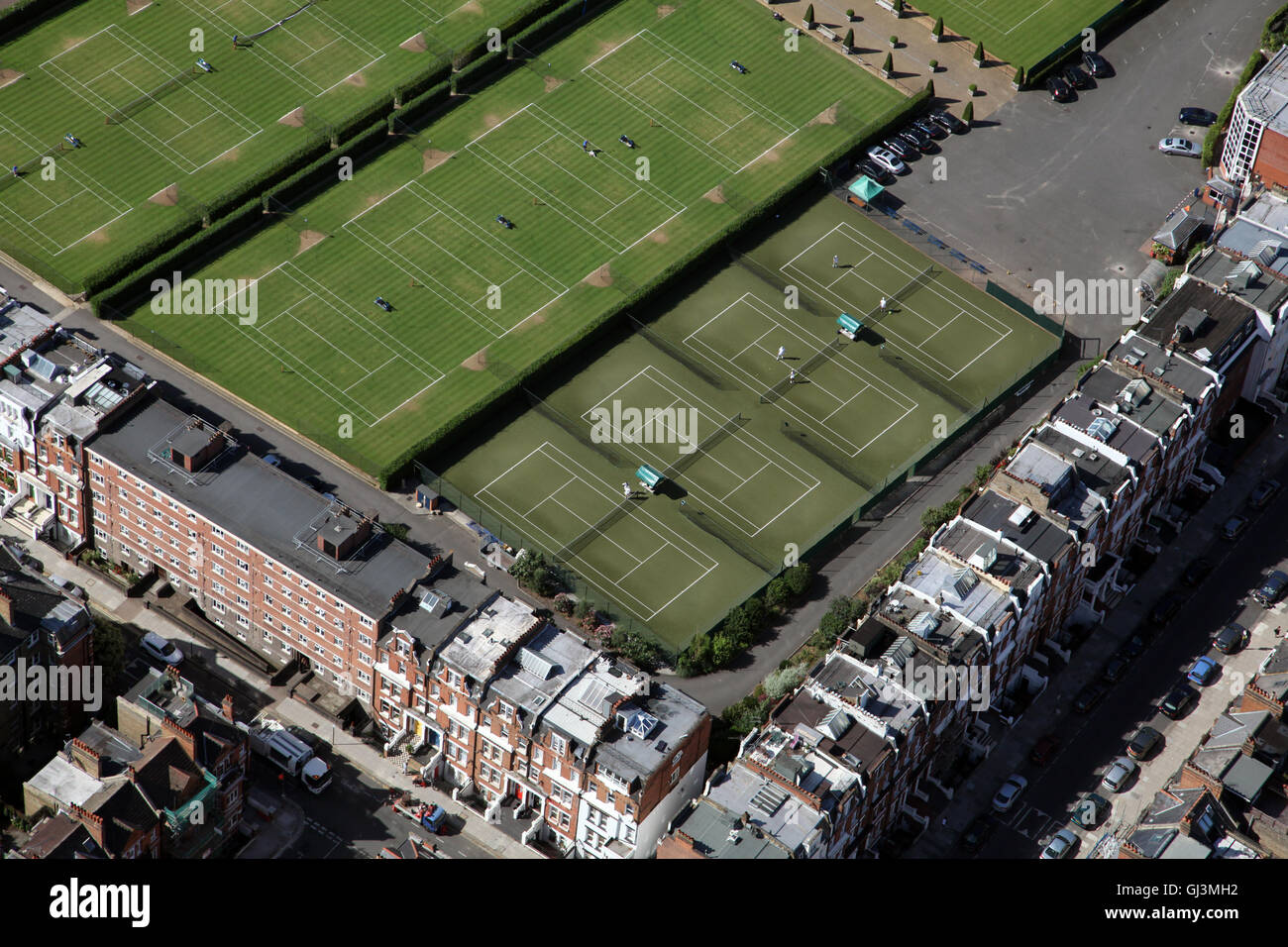aerial view of The Queens Club tennis courts in West London, UK - Stock Image