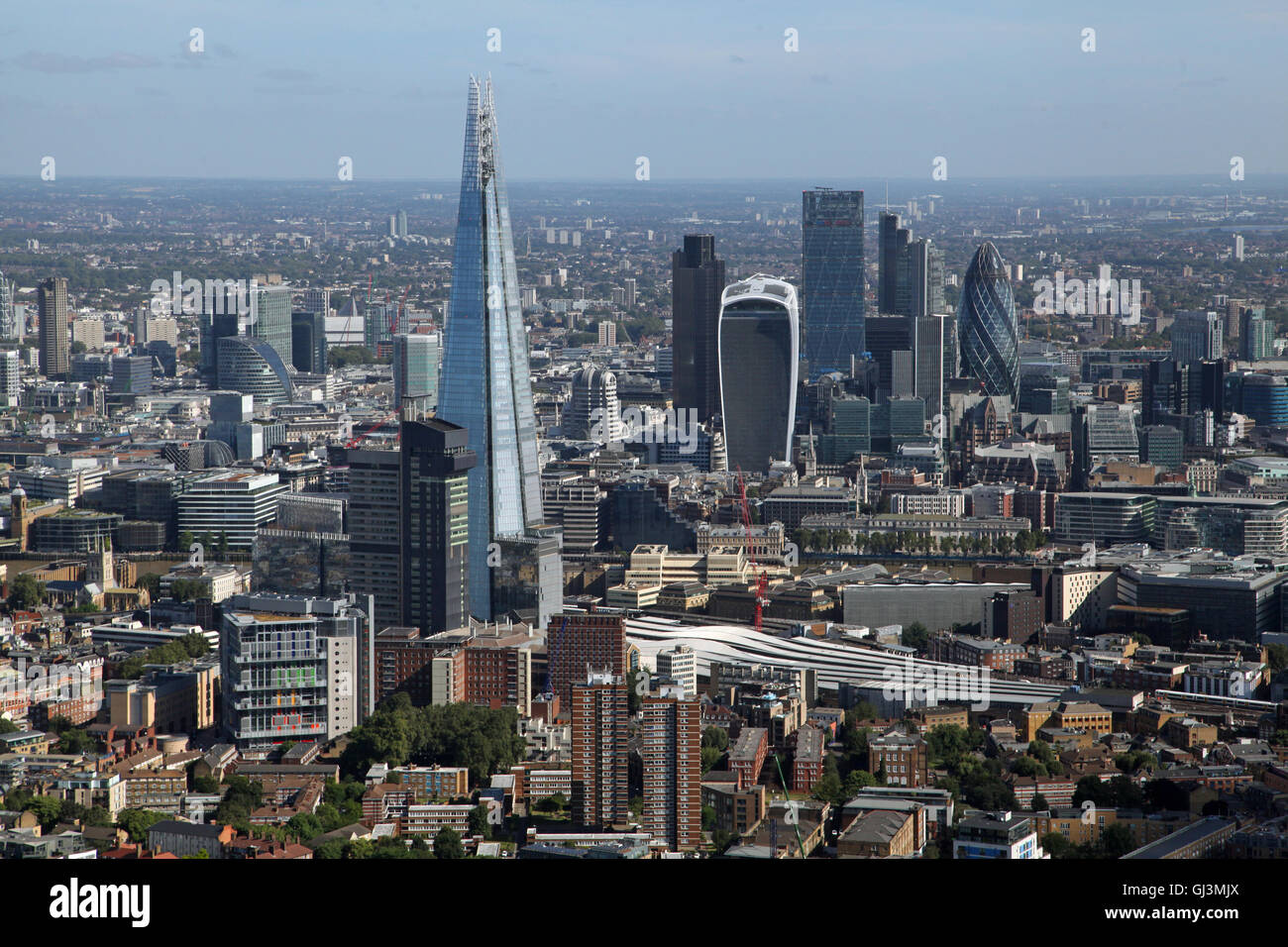 aerial view of the Shard and City of London skyline with Gherkin, Walkie Talkie and Cheese Grater buildings, UK - Stock Image