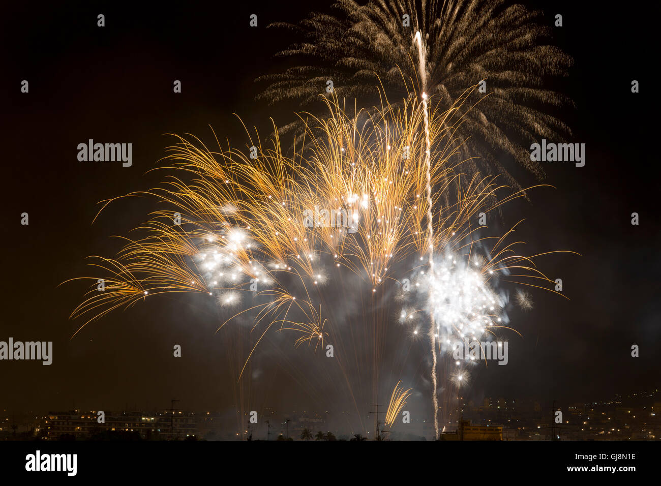 Night of Alborada fireworks for an hour in the city of Elche - Stock Image
