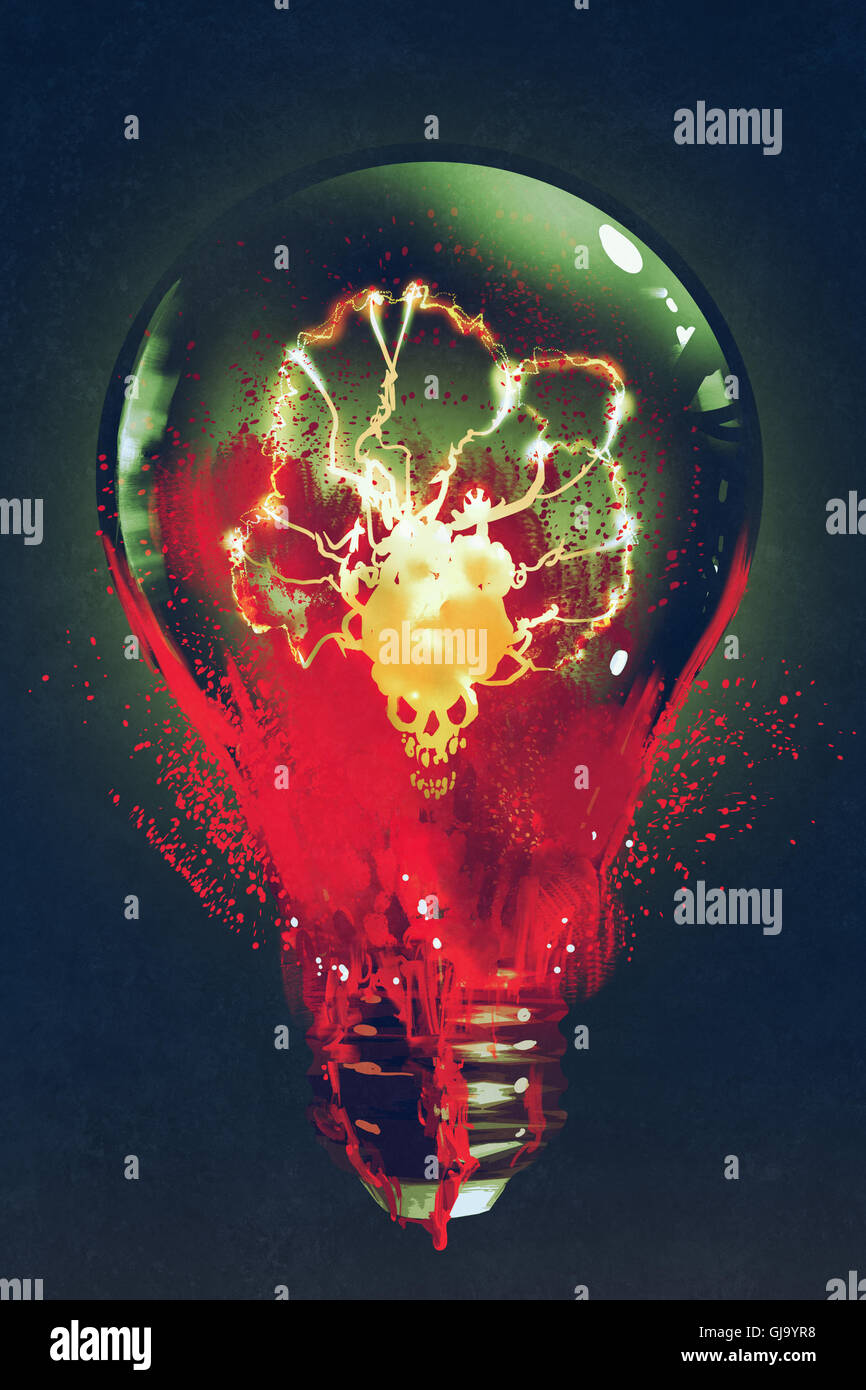 light bulb with the skull glowing inside on dark background,illustration painting - Stock Image