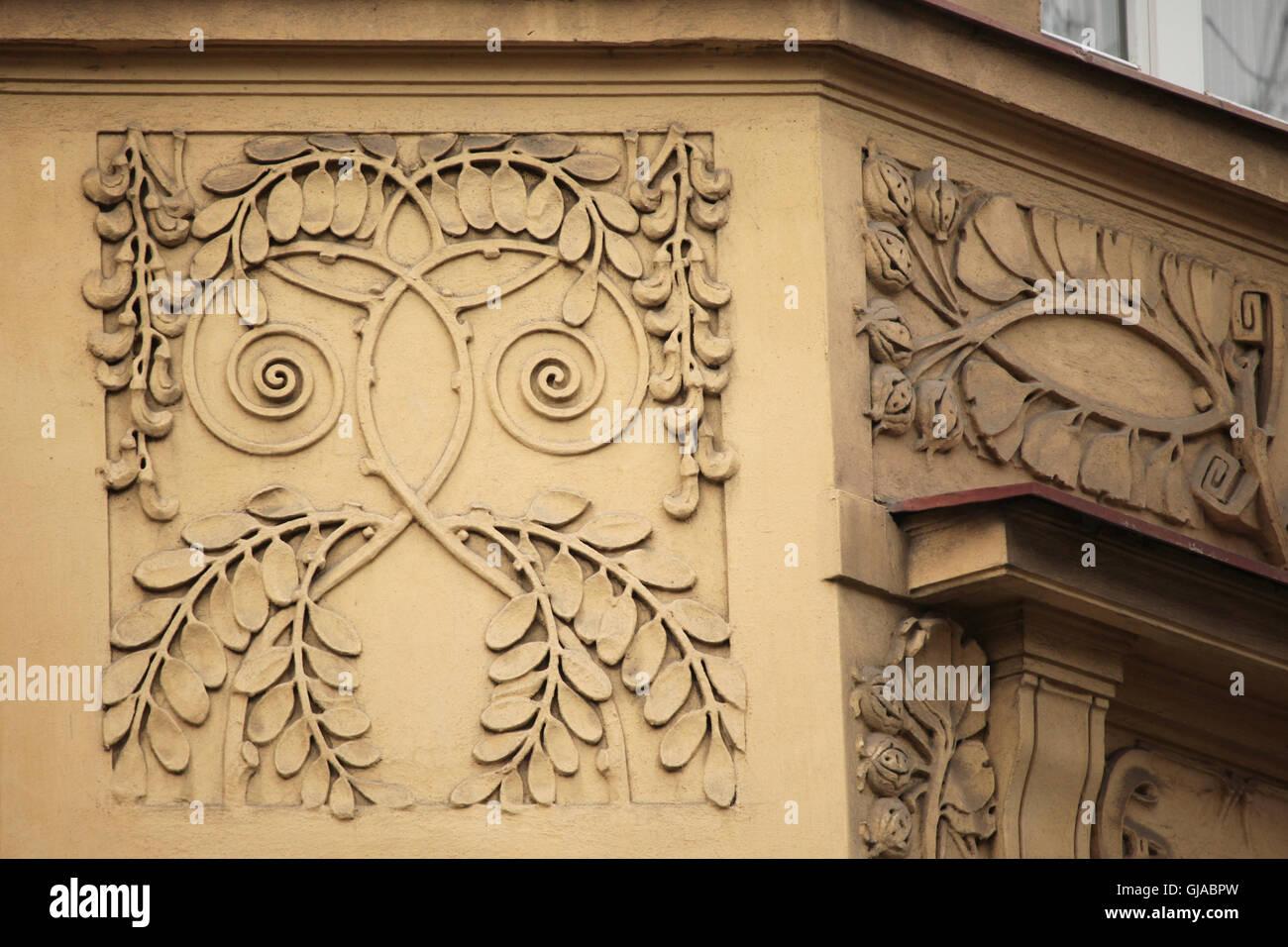 Art Nouveau stucco decoration on the revenue house in Cechova Street ...
