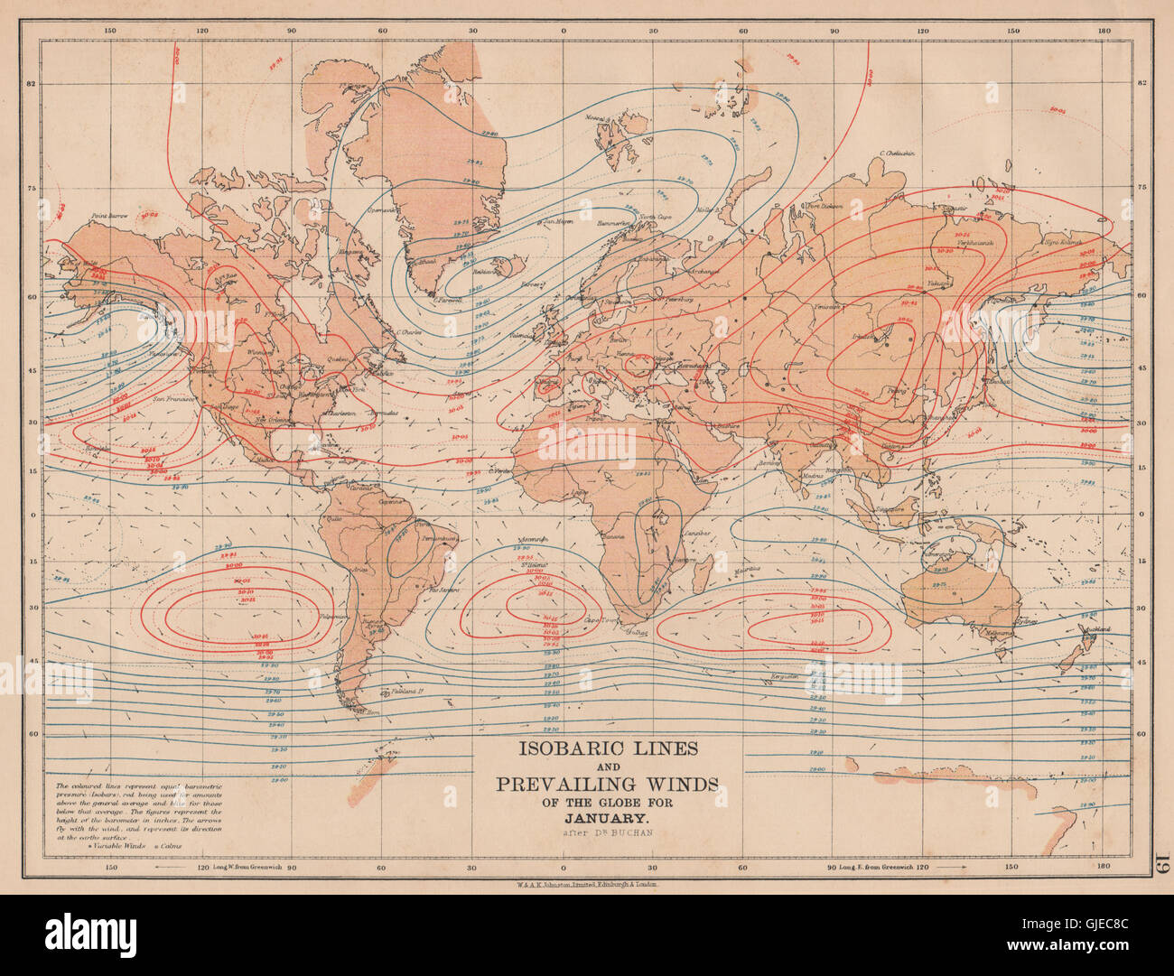 WORLD.Isobaric lines & Prevailing Winds of the Stock Photo ...