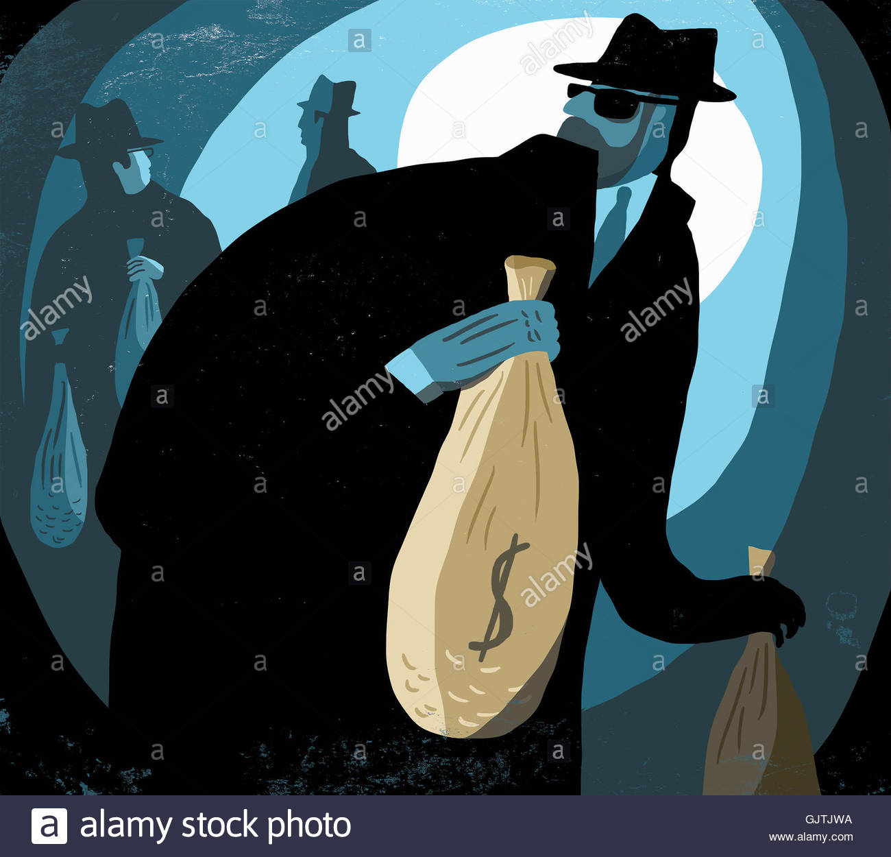 Businessmen stealing bags of money - Stock Image