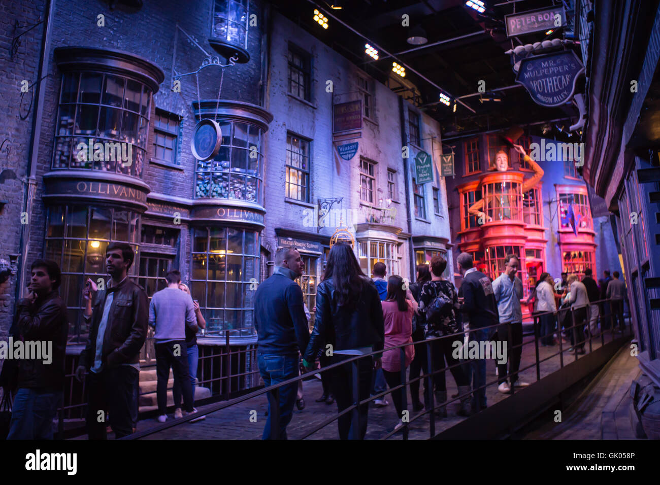 Diagon Alley with visitors in Harry Potter World Warner Bros Studio Tour Leavesden Watford, UK Stock Photo