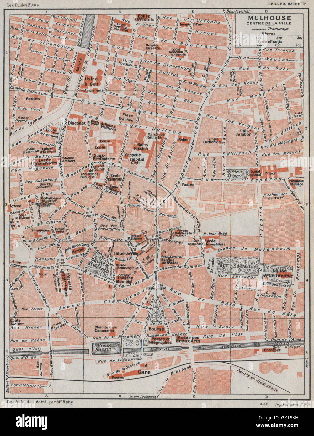 MULHOUSE Centre de la ville Vintage town city map plan carte Stock