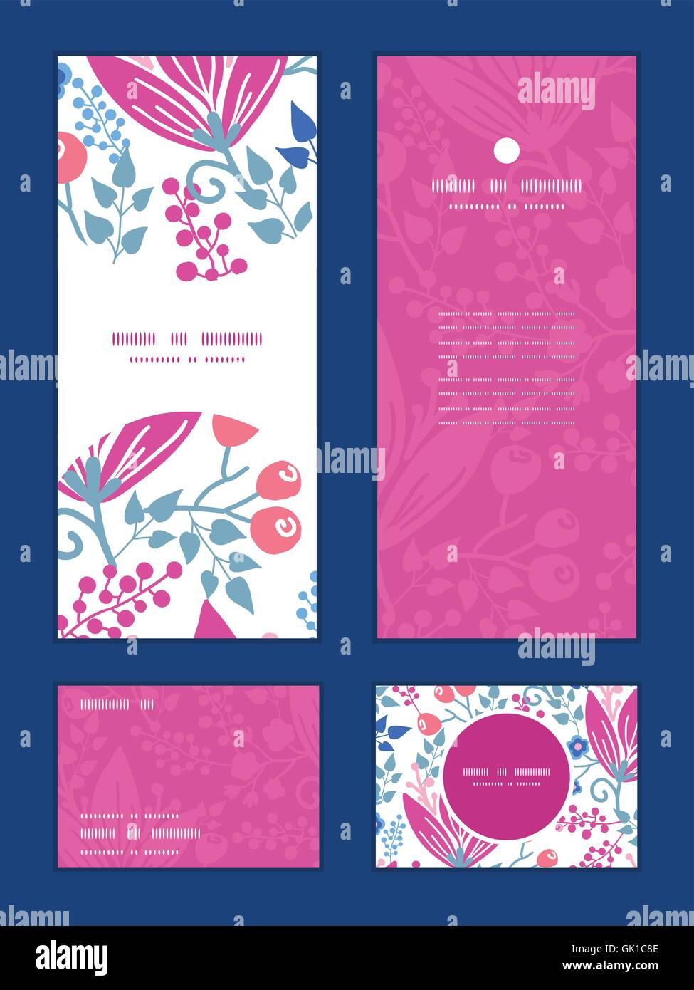 Vector Pink Flowers Vertical Frame Pattern Invitation Greeting Rsvp