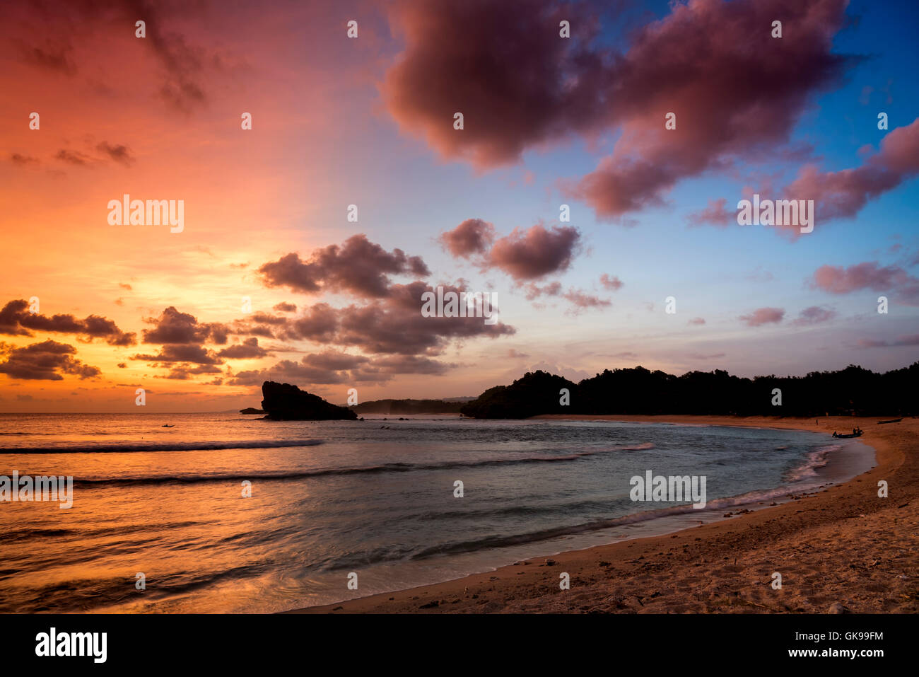 Sunset at the lagoon of Watu Karung, Java, Indonesia - Stock Image