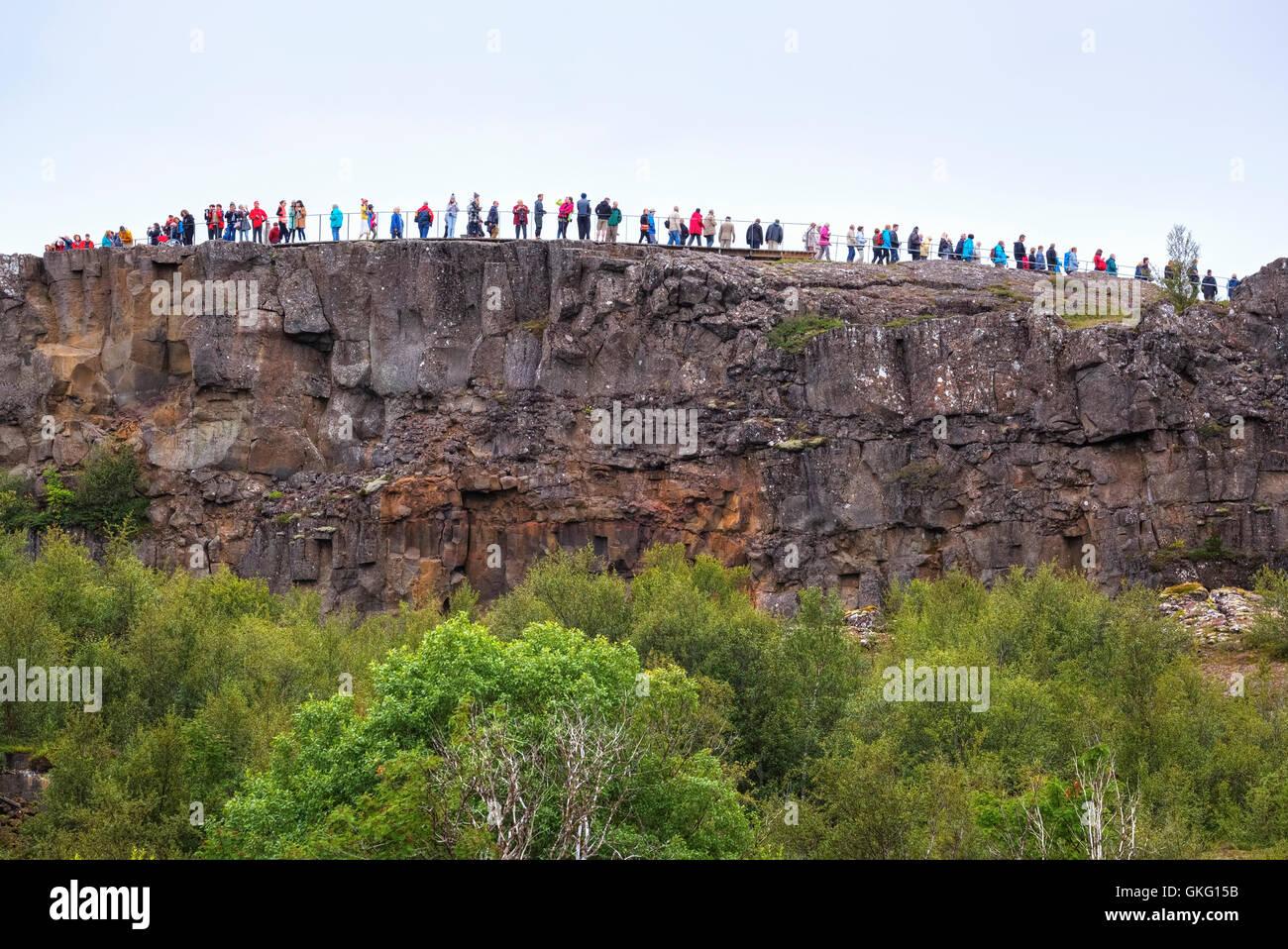 Mass tourism in National Park Thingvellir, Mid-Atlantic Ridge, Golden Circle, Iceland - Stock Image