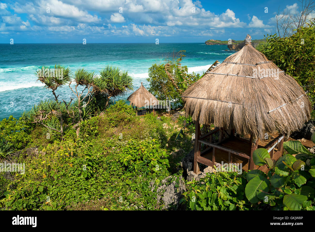 Wooden gazebo on the indonesian beach Pantai Baron, Jawa, Indonesia - Stock Image