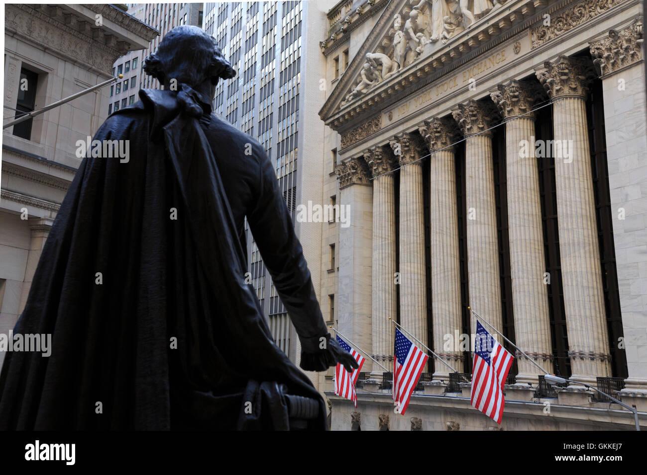 USA, New York, New York City, Lower Manhattan, Wall Street - Stock Image