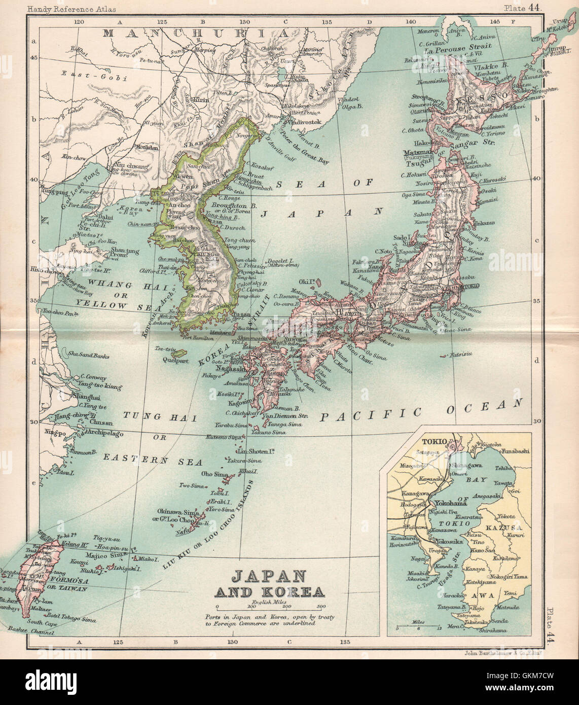 Japan and korea including formosataiwan east asia bartholomew japan and korea including formosataiwan east asia bartholomew 1904 old map gumiabroncs Image collections
