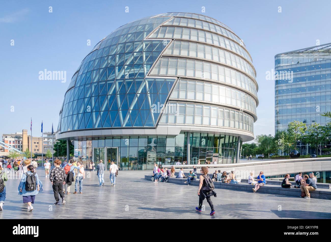 People outside City Hall, London, UK - Stock Image