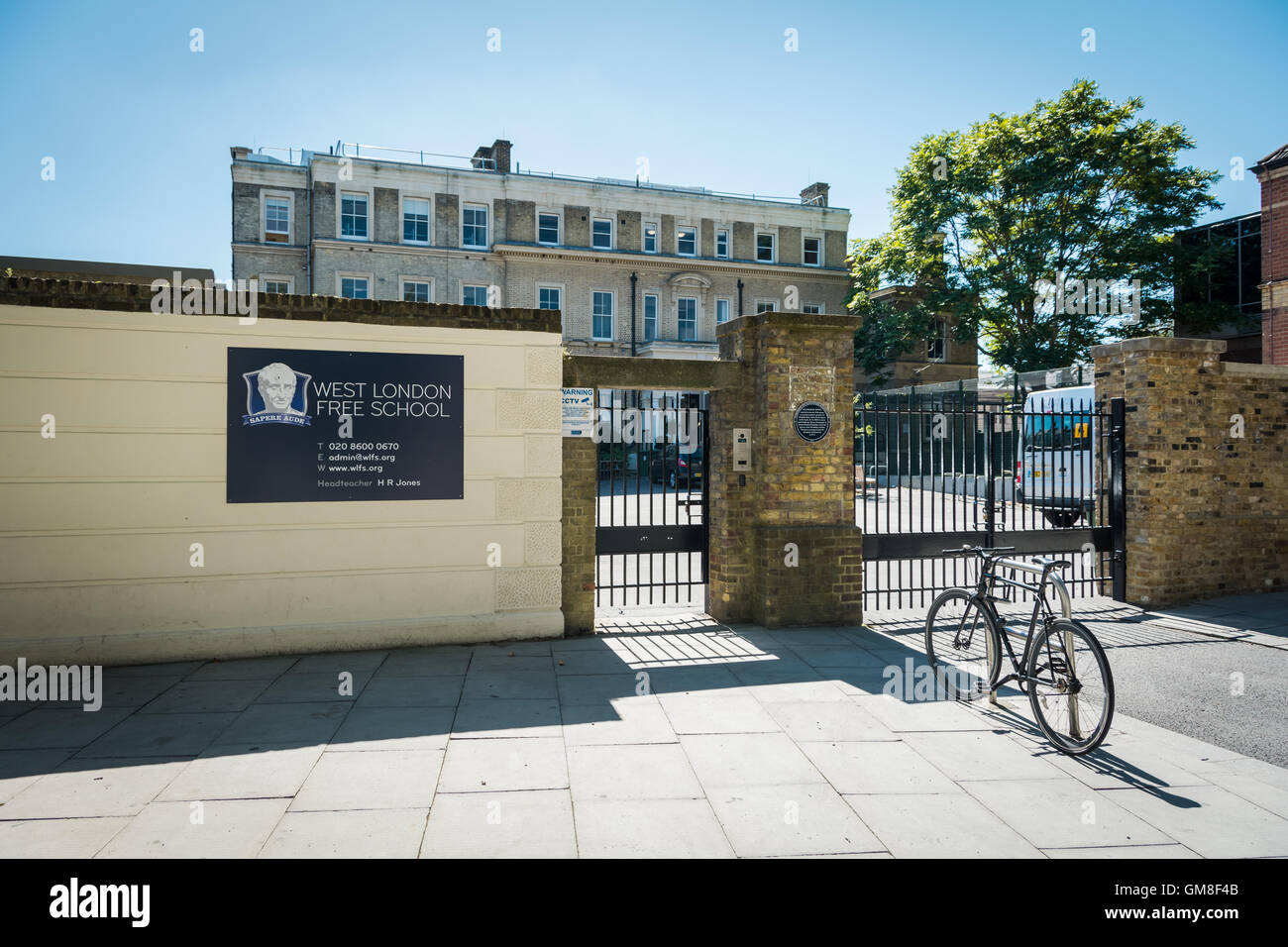 Entrance to the West London Free School in Palingswick House, Hammersmith, London, UK Stock Photo