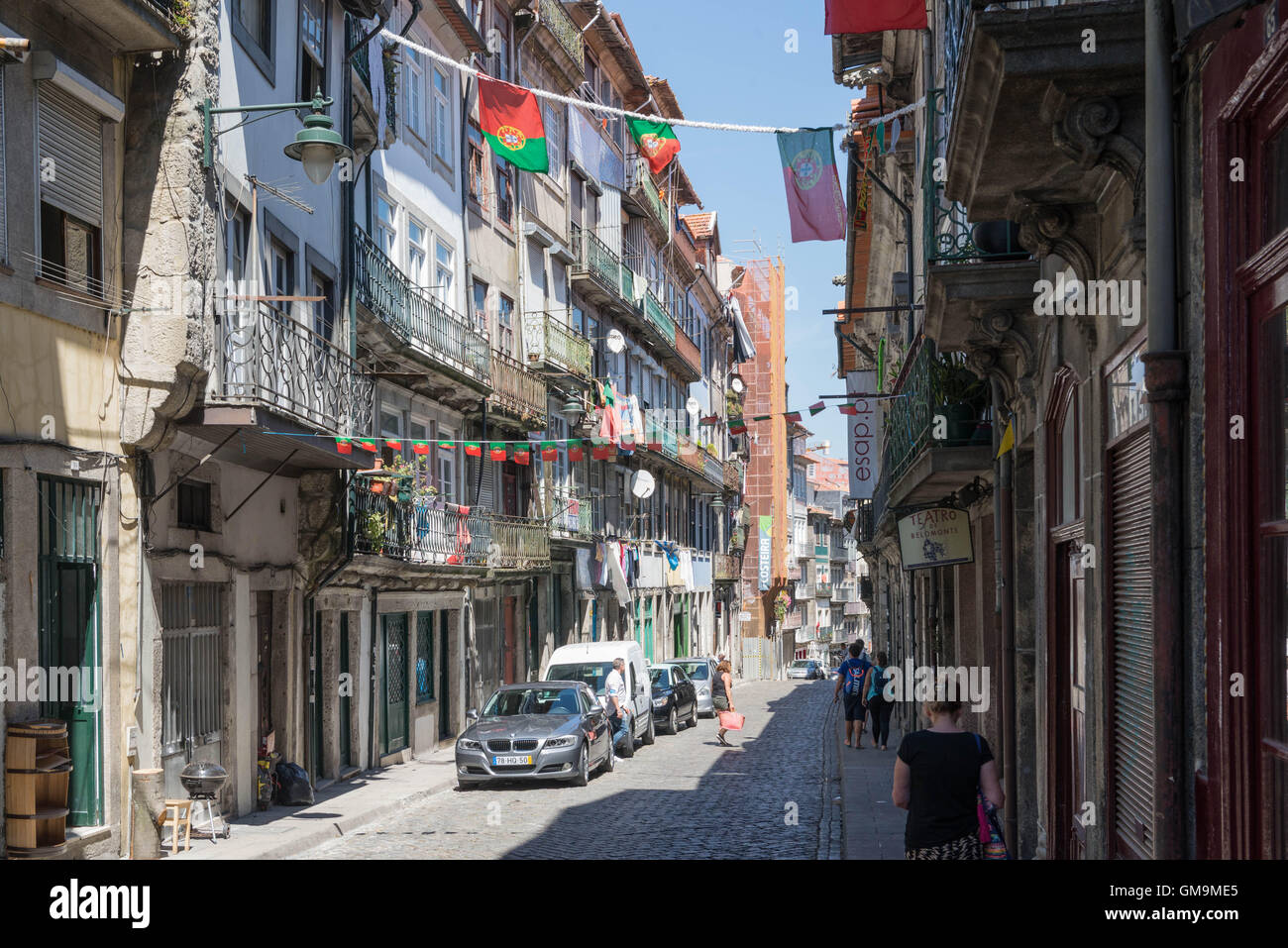 Street in the old Jewish quarter, Miragaia, Porto, Portugal Stock Photo
