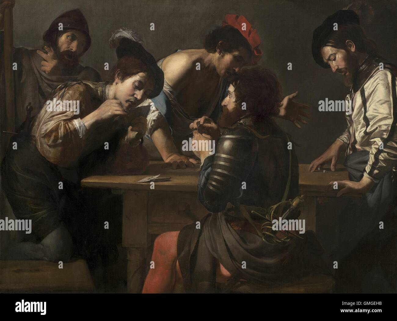 Soldiers Playing Cards and Dice (The Cheats), by Valentin de Boulogne, 1618-20, French painting, oil on canvas. - Stock Image