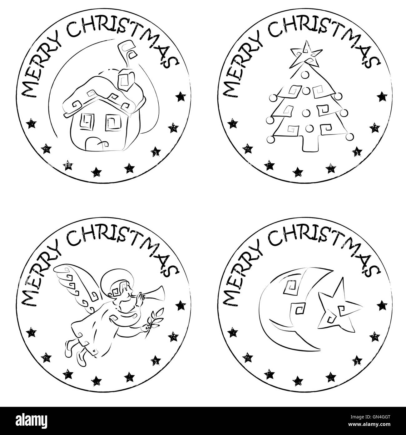 4 christmas coin stamps house tree moon angel Stock Photo: 116270808 ...