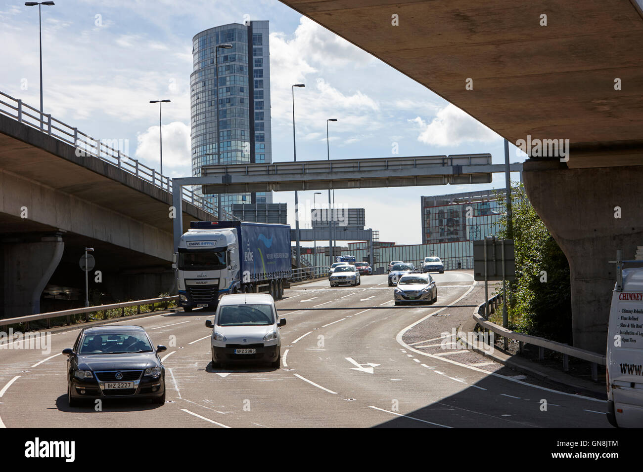 Belfast M3 motorway flyover and underpass traffic in the city centre Northern Ireland UK - Stock Image