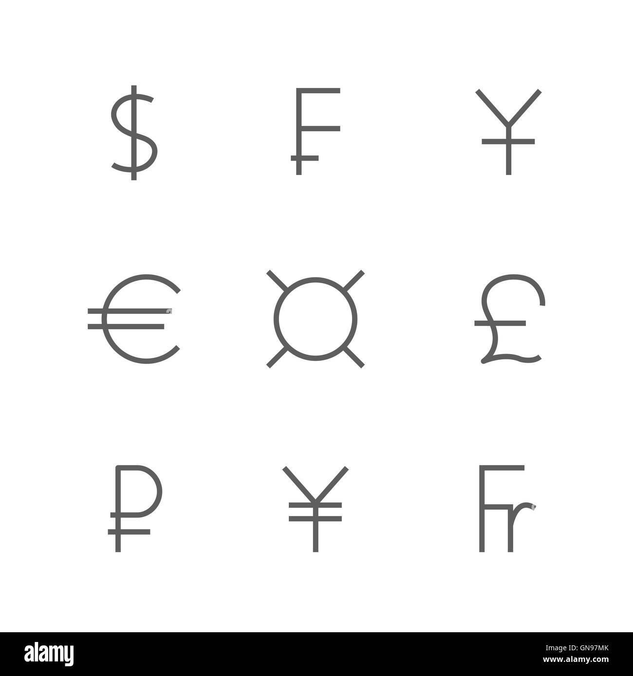 Set Symbols Of World Currencies Vector Illustration Stock Vector