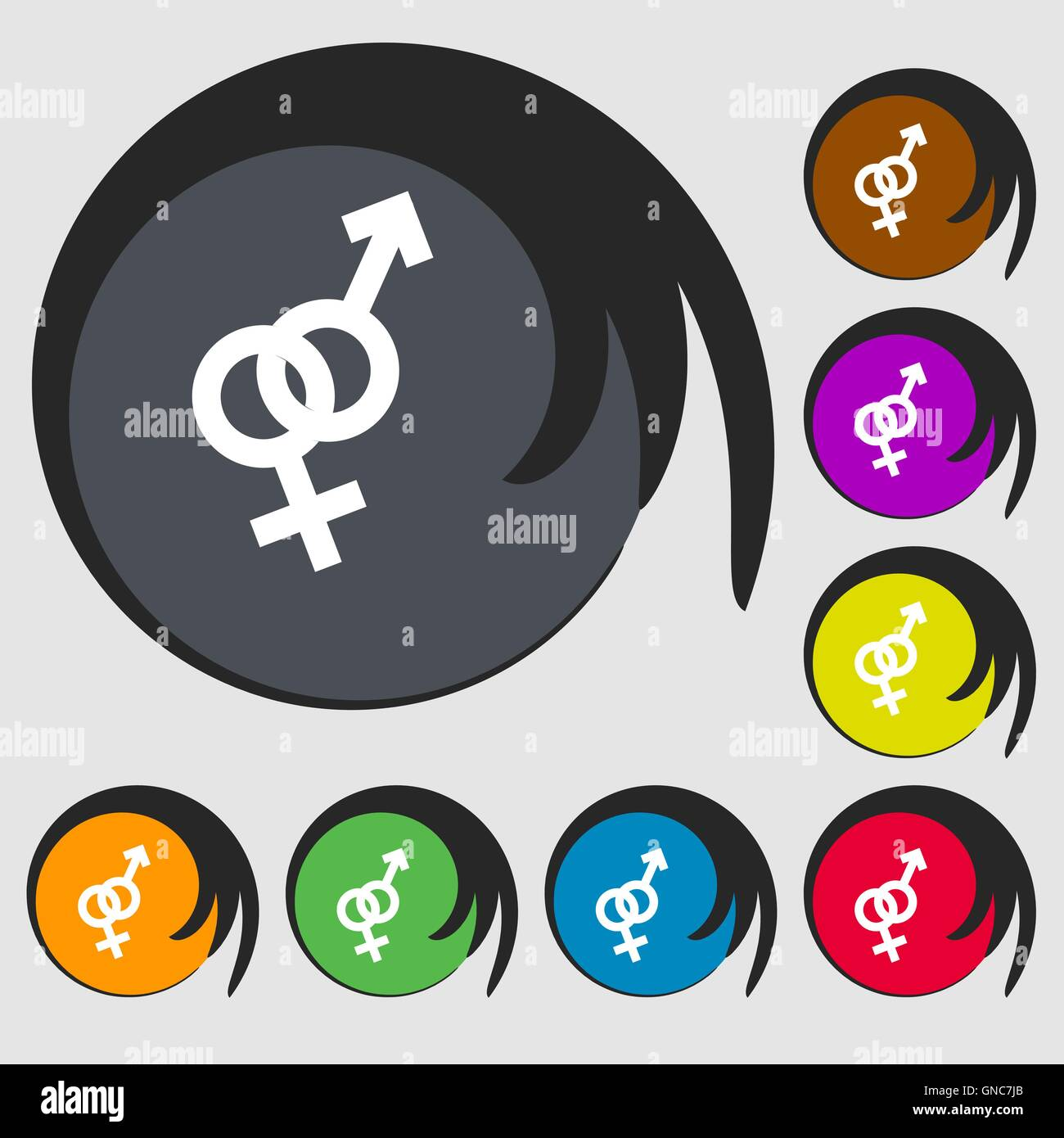 Male And Female Sign Icon Symbols On Eight Colored Buttons Vector