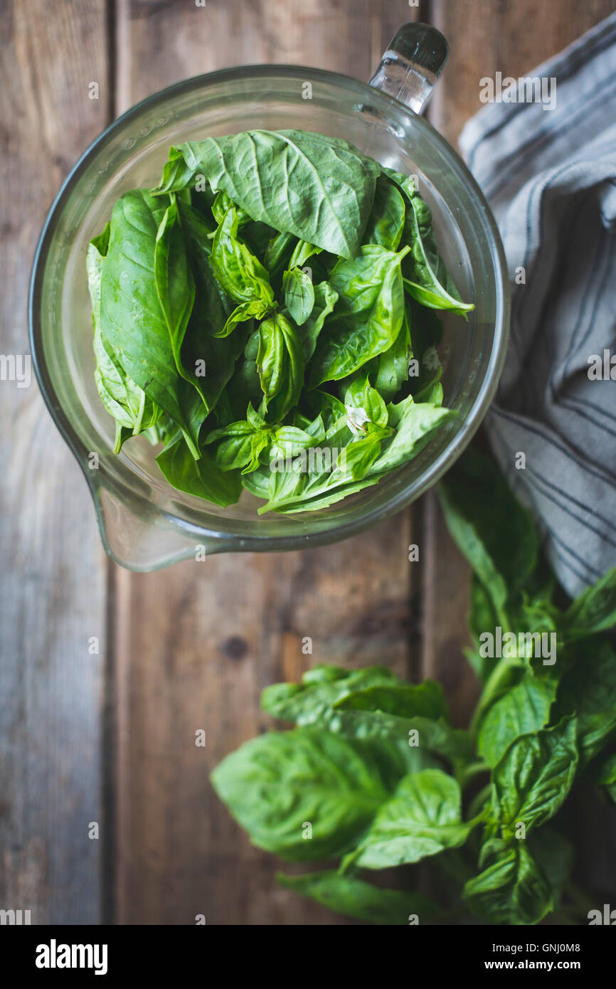 Basil, ready for cooking - Stock Image