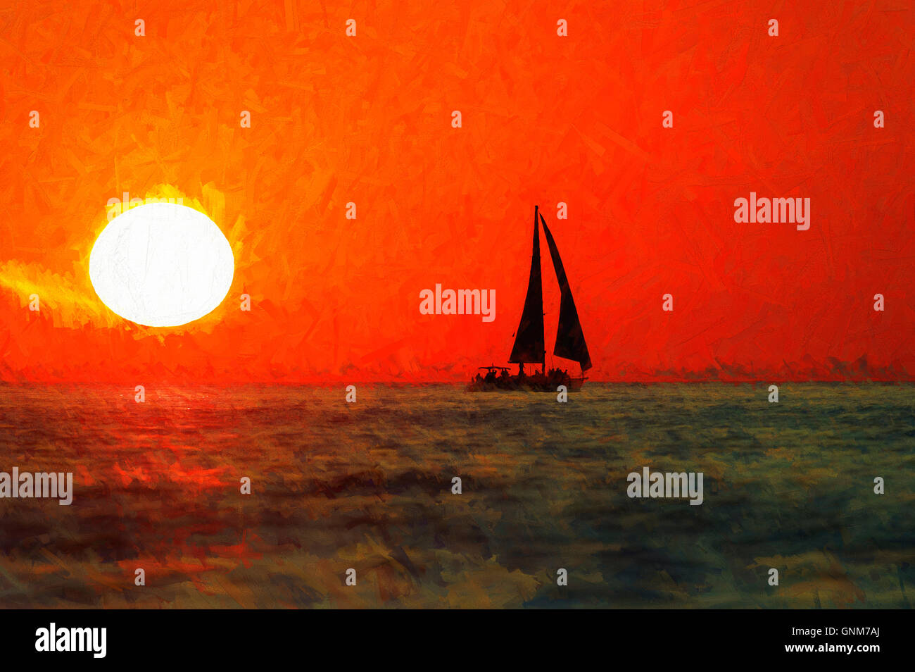 sailboat silhouette sunset is a boat sailing with full sail set
