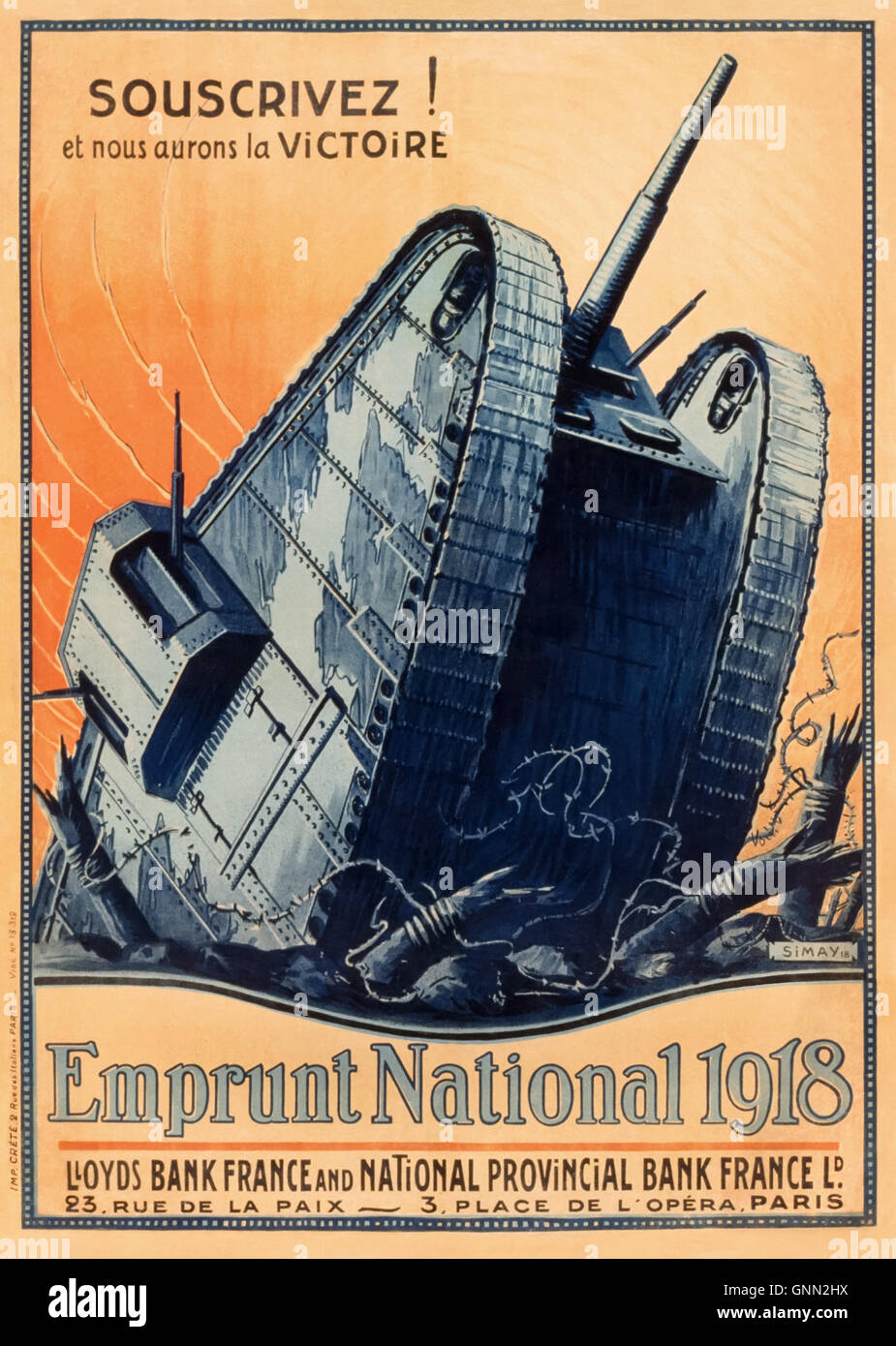 Souscrivez! et nous aurons la victoire. Emprunt National 1918 (Subscribe! and we will be victorious. National Loan - Stock Image