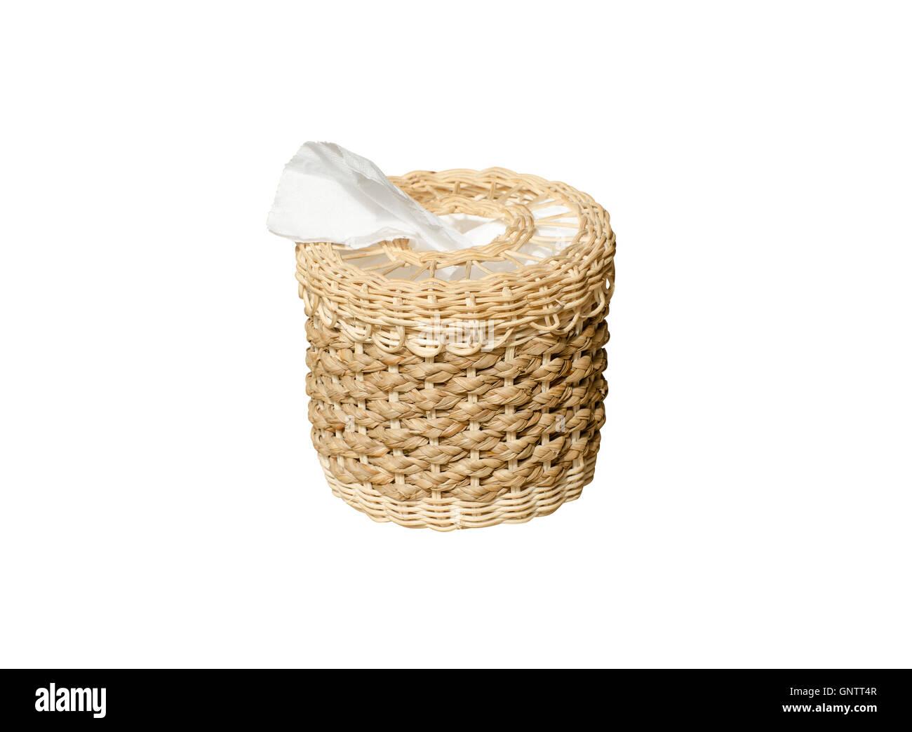 Tissue Box isolate on white background, wickerwork - Stock Image