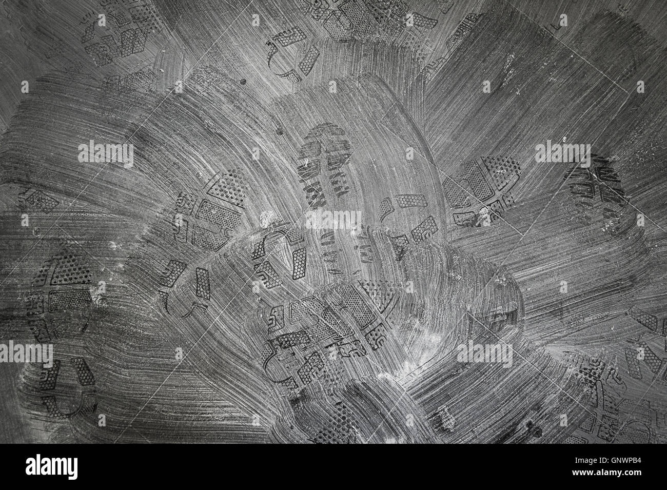 Pattern Created After Sweeping Drywall Dust - Stock Image