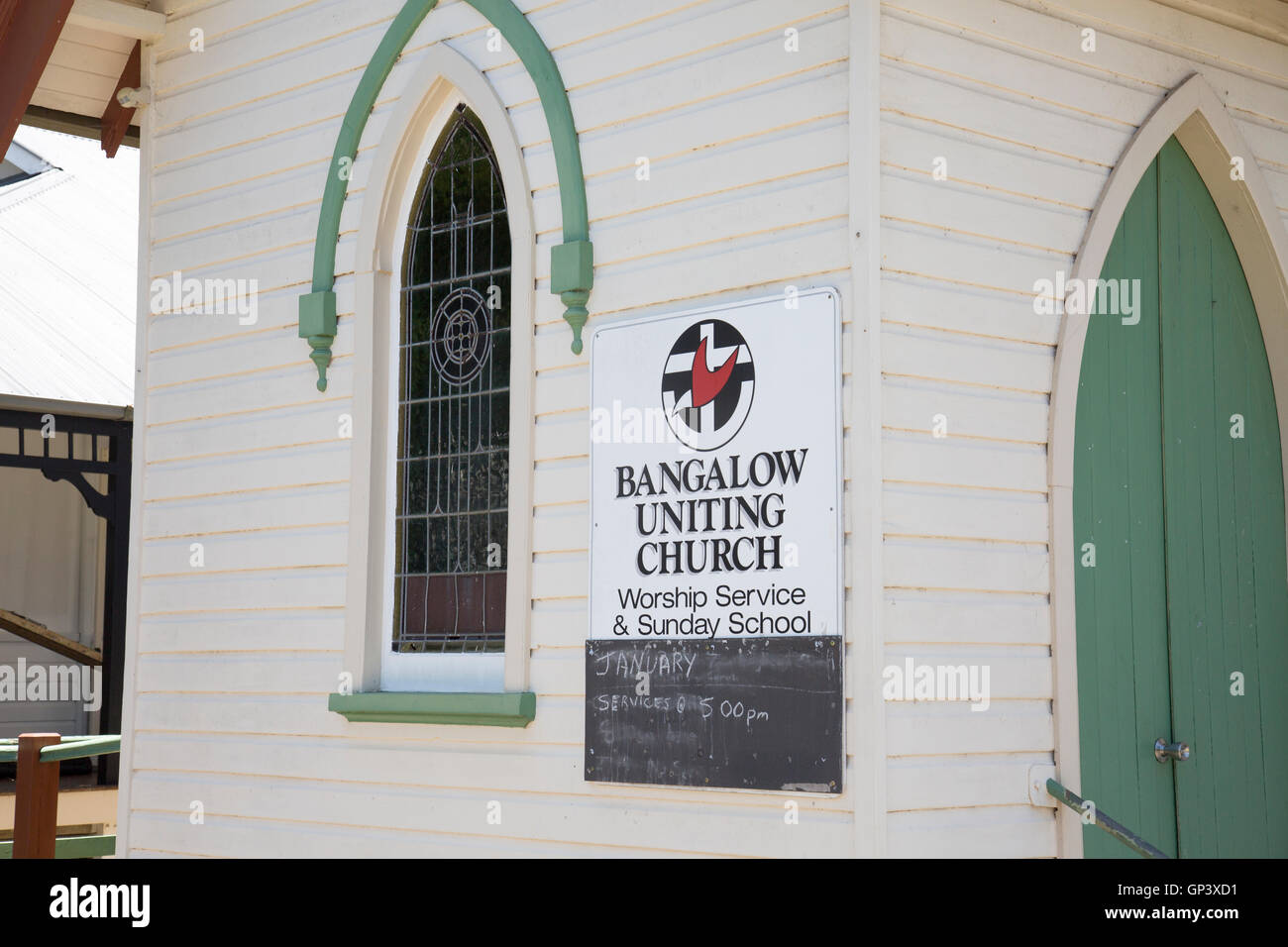 Bangalow Uniting Church building in this village in northern new south wales,Australia - Stock Image
