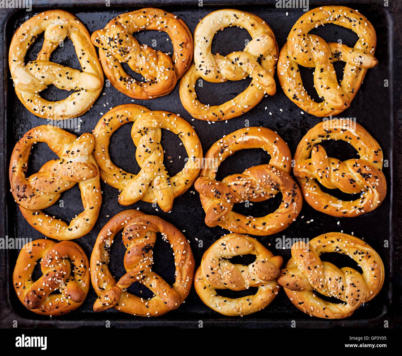 background texture of pretzels top view oktoberfest stock photo