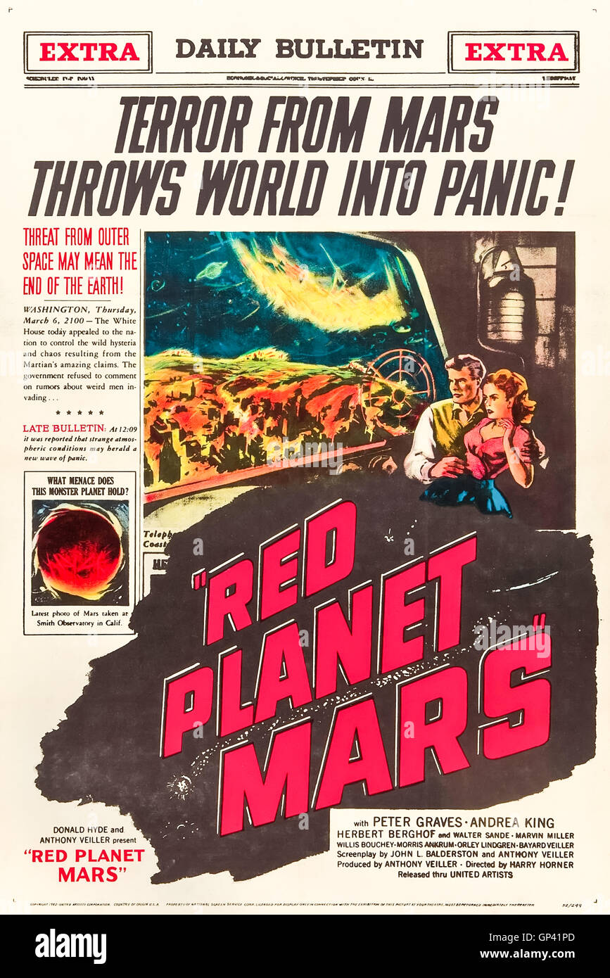 Red Planet Mars (1952) directed by Harry Horner and starring Peter Graves, Andrea King and Herbert Berghof. A radio - Stock Image