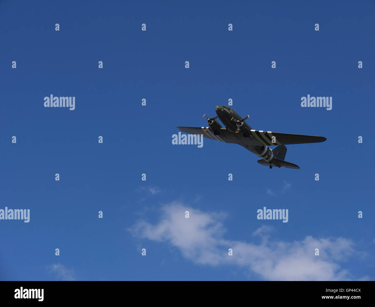 Dakota part of the Battle of Britain Memorial Flight (BBMF)  during a flypast over Rufford Abbey - Stock Image