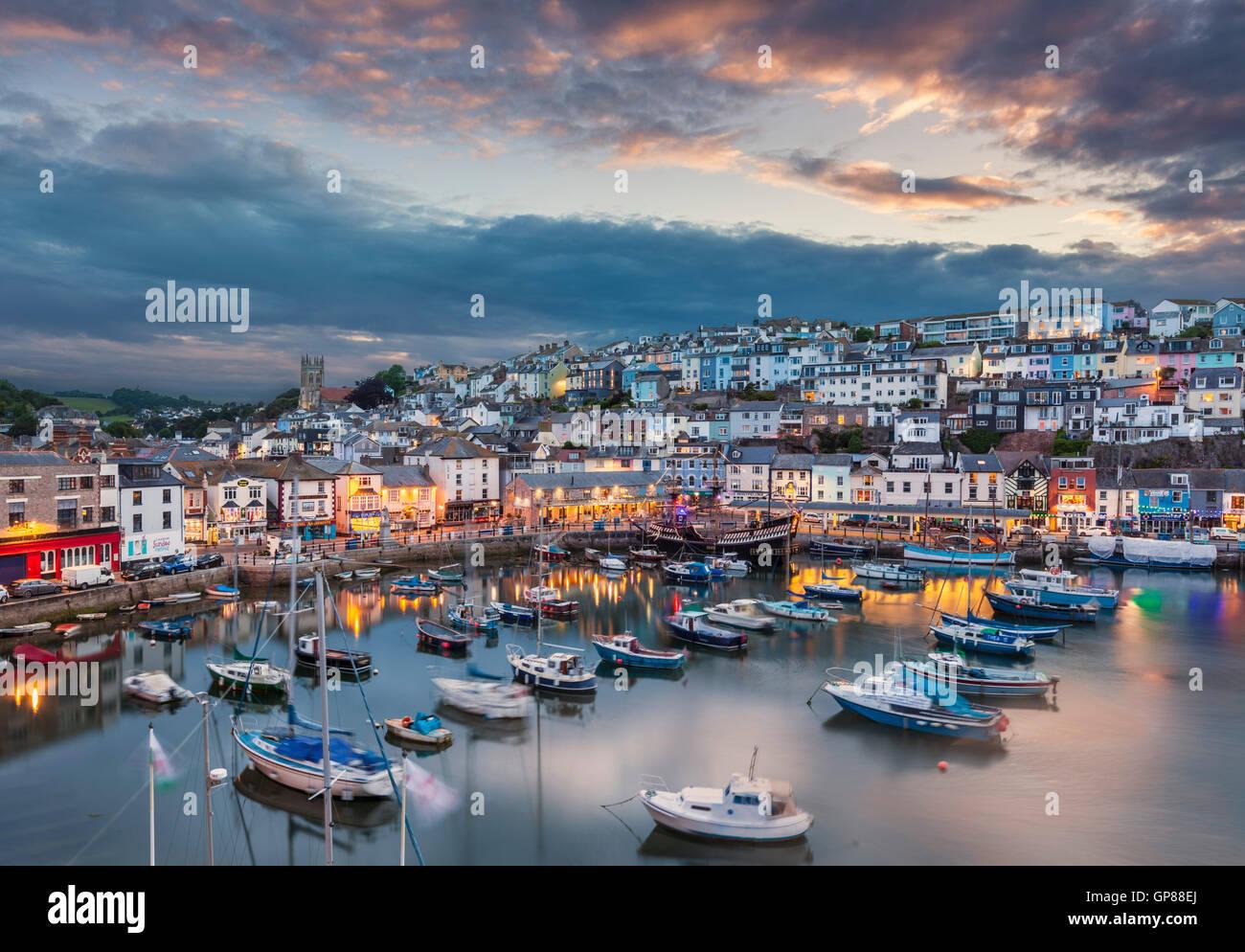 Brixham Harbour at sunset Brixham Devon England UK GB Europe Stock Photo