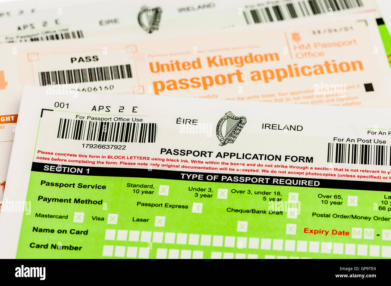 Passport Application Forms For Both Republic Of Ireland Eire And