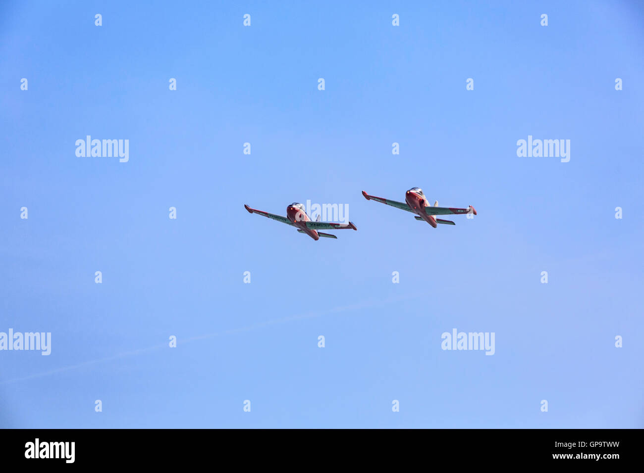 Jet Provost Display Team in action at Eastbourne Airshow Airbourne 2016 - Stock Image