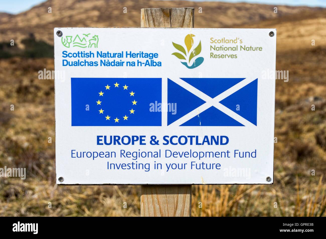 Scottish Natural Heritage sign on the track to Kilmory, Isle of Rum, Scotland, UK. - Stock Image