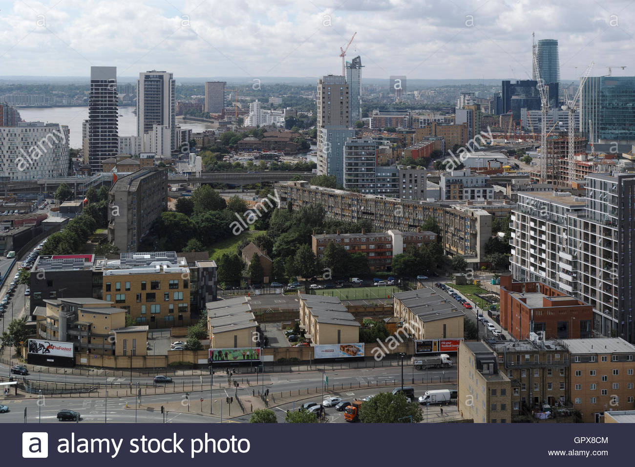 Birds eye view of Robin Hood Gardens housing estate: Poplar, London.Stock Photo
