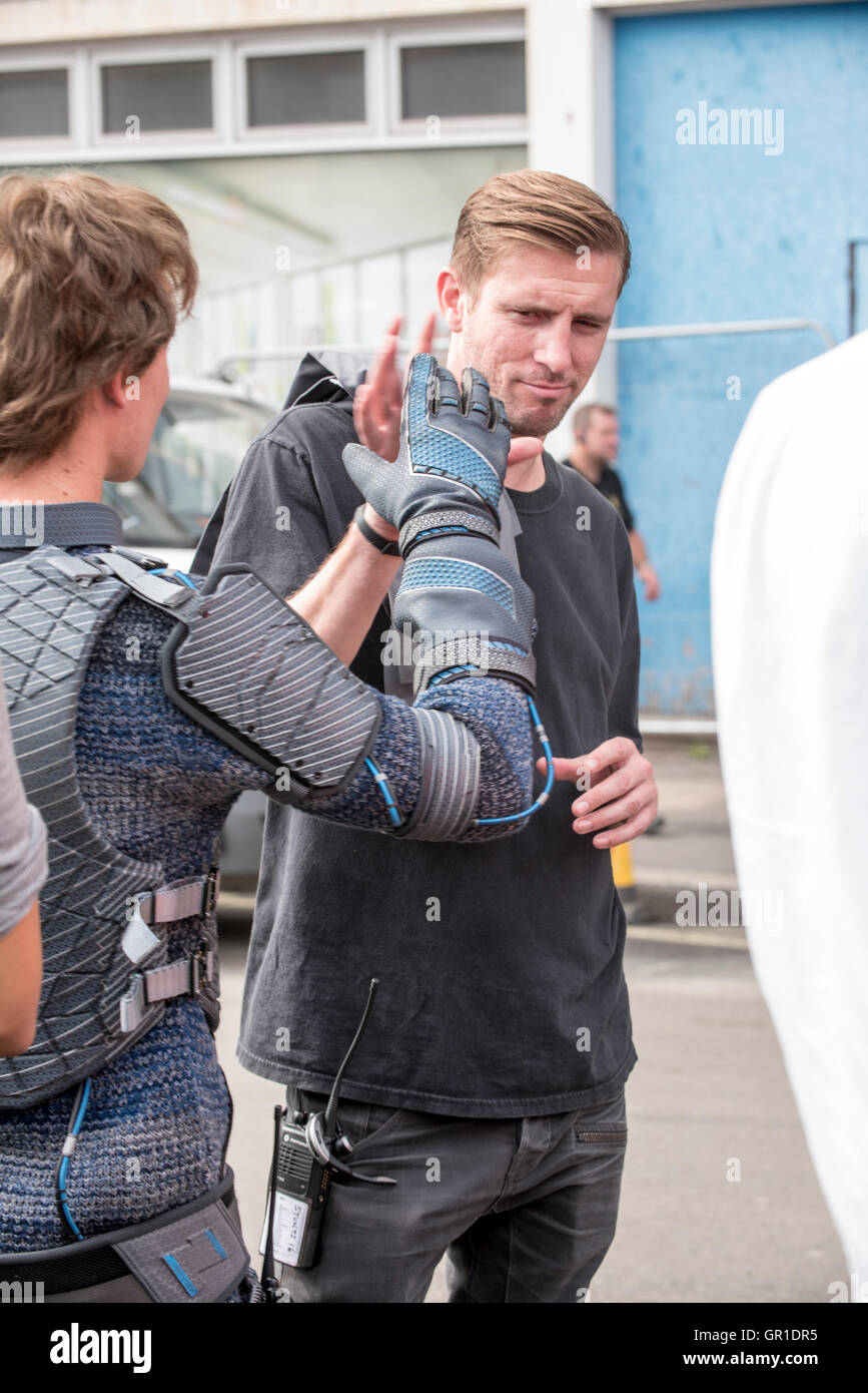 Actors' doubles' and standin's, crew on set of 'Ready Player One' Steven Spielberg's latest - Stock Image