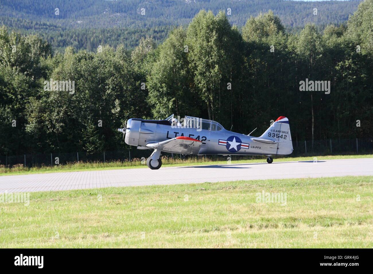 T-6 Havard at Notodden Airshow - Stock Image