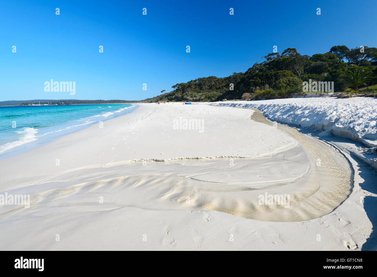 The famous white sands of Hyams Beach in picturesque Jervis Bay with its turquoise waters, New South Wales, NSW, Stock Photo