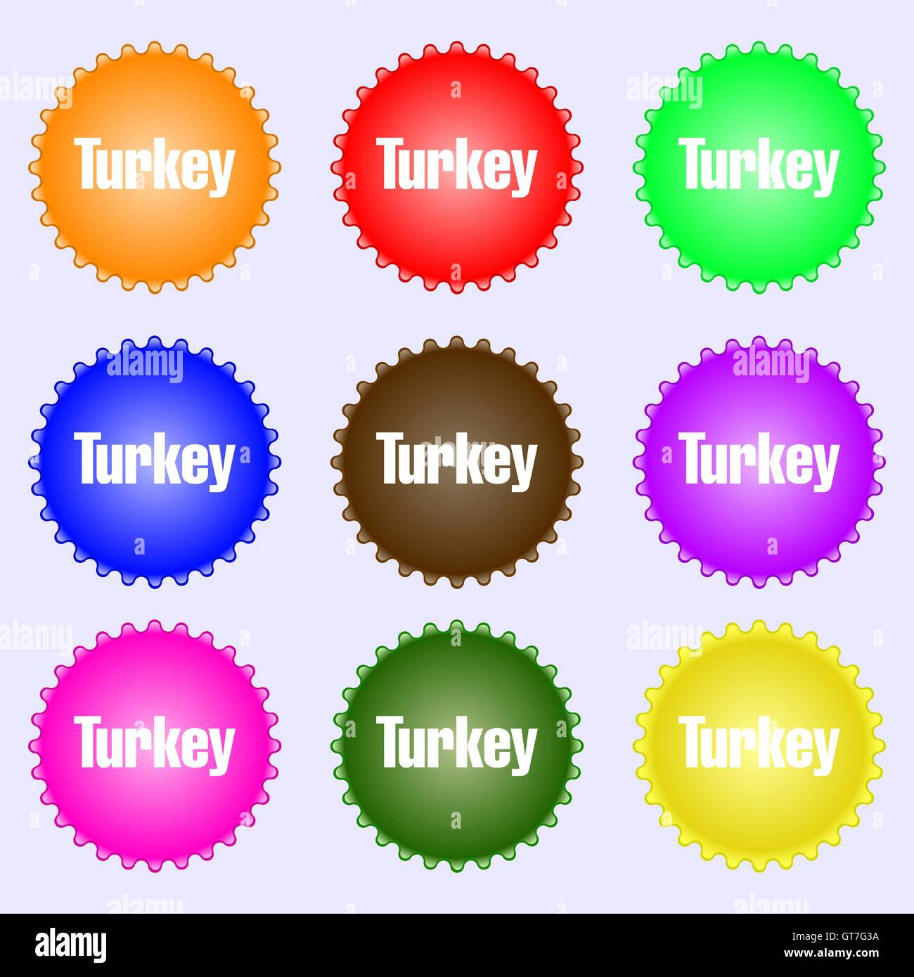 turkey icon sign big set of colorful diverse high quality buttons