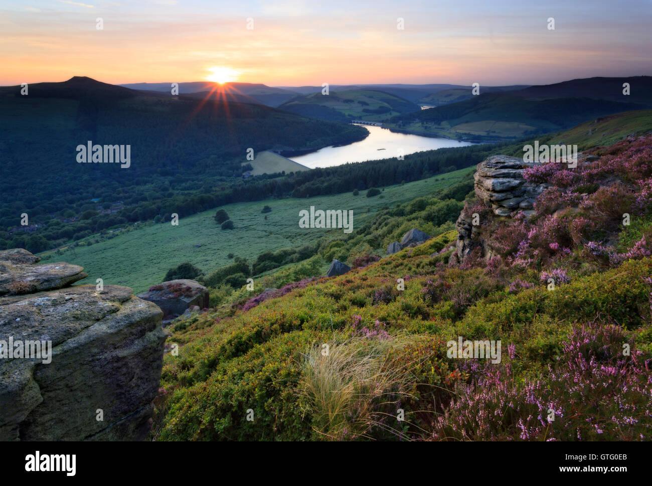 Bamford Edge at sunset - Stock Image