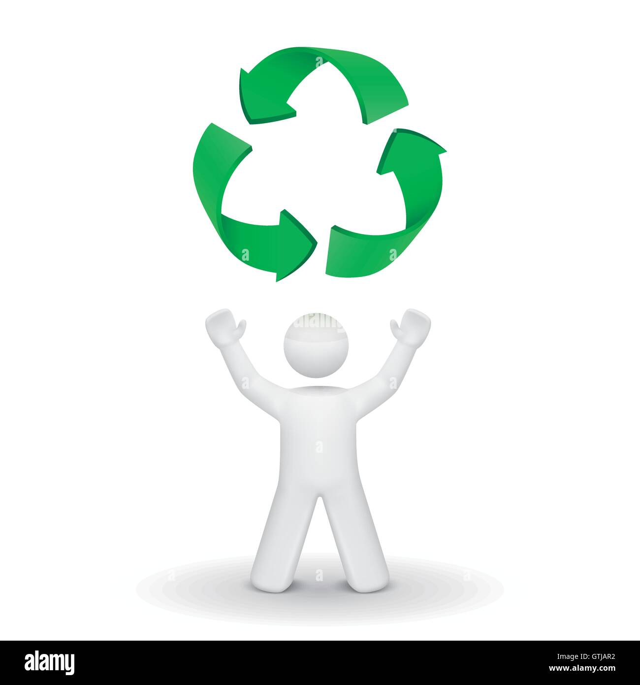 3d Person Looking Up At The Recycling Symbol Isolated White Stock