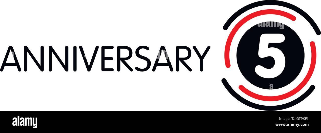 Anniversary Vector Unusual Label Fifth Anniversary Symbol 5 Years