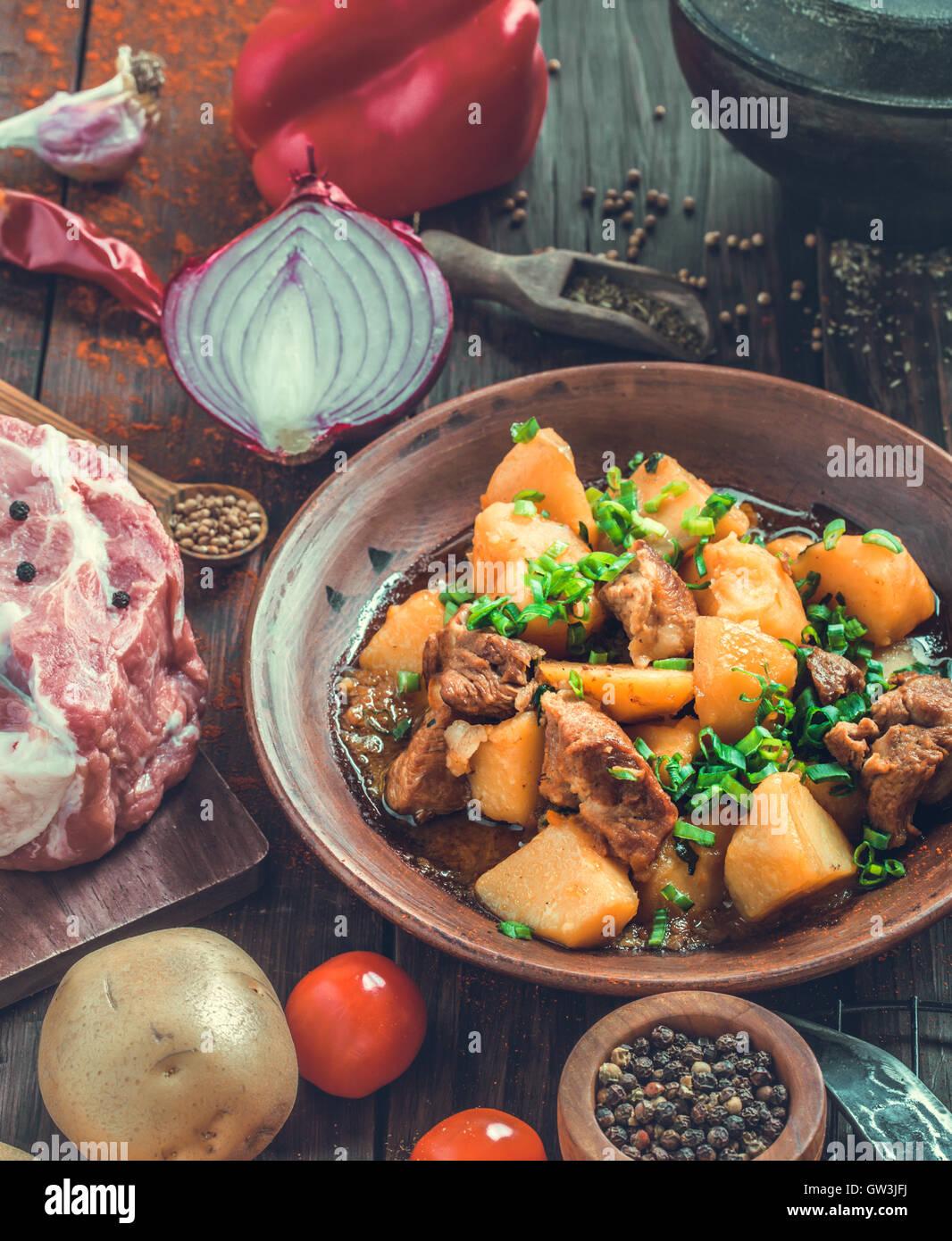 Pork and potato stew rustic style - Stock Image
