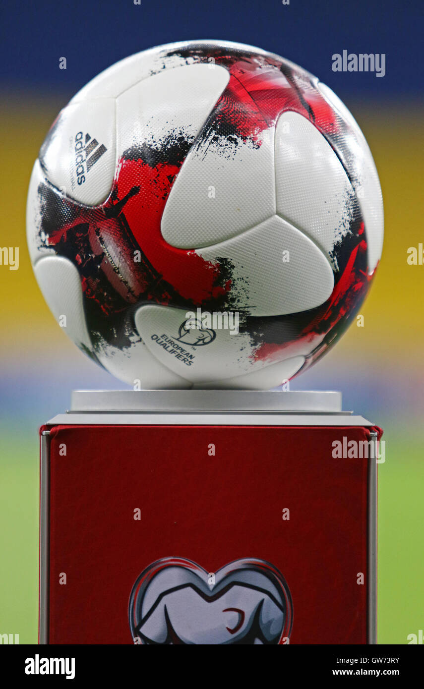 Official match ball of FIFA World Cup 2018 Qualifying matches on pedestal  before the game between Ukraine and Iceland 210bbbba2
