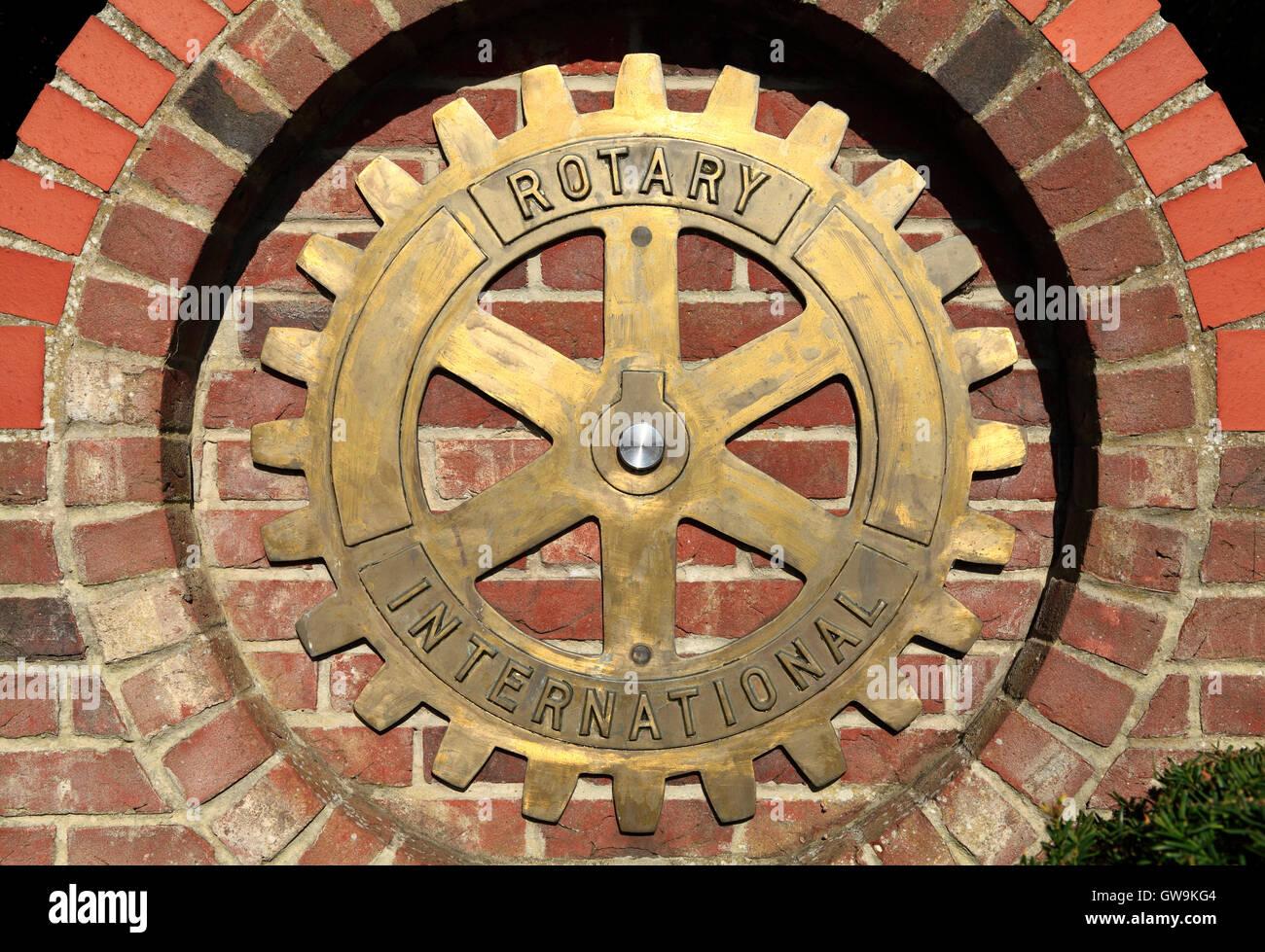 Rotary International, logo, insignia, badge, Hunstanton Norfolk England UK club clubs - Stock Image