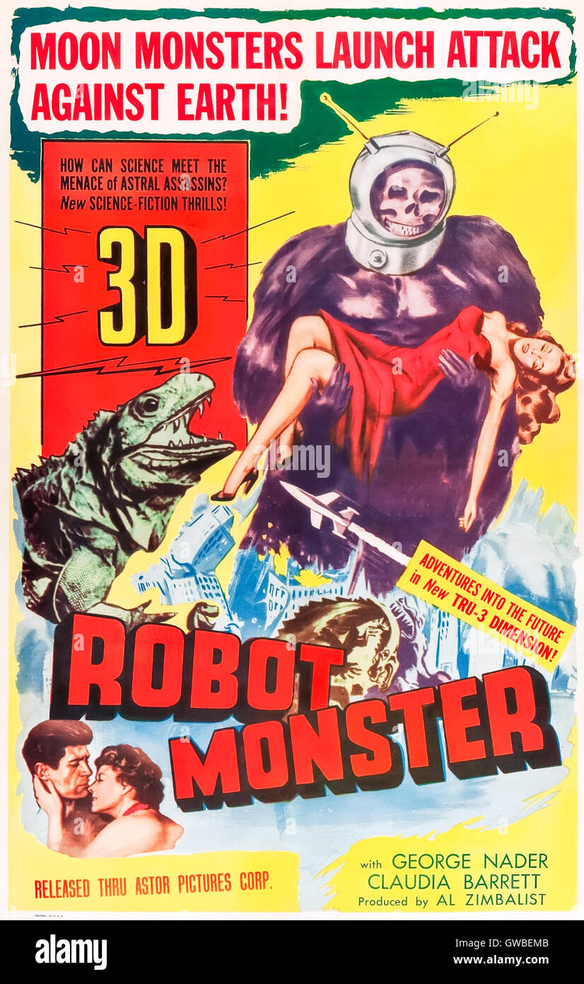 Robot Monster (1953) directed by Phil Tucker and starring George Nader, Gregory Moffett and Claudia Barrett. The - Stock Image