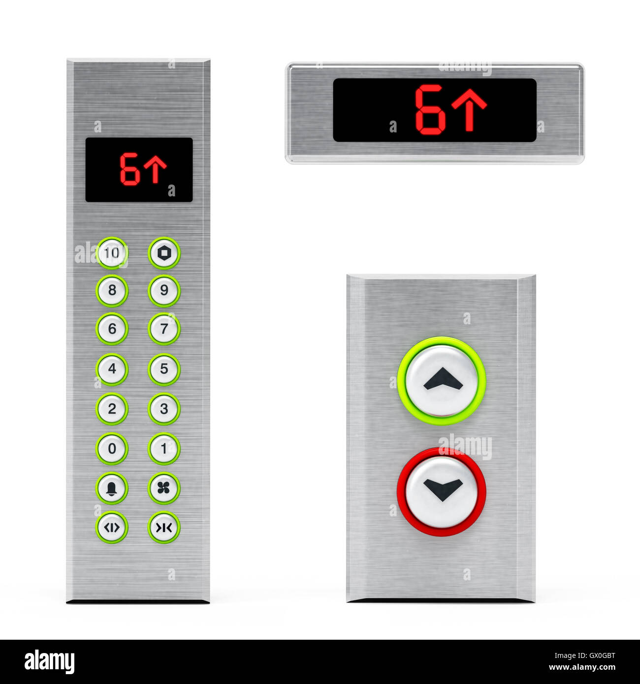 elevator panels with buttons and lcd display 3d illustration stock
